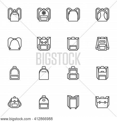 Backpack Collection Line Icons Set, Outline Vector Symbol Collection, Linear Style Pictogram Pack. S