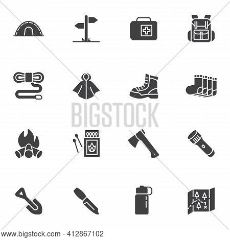 Camping And Hiking Vector Icons Set, Hiking Equipment Modern Solid Symbol Collection, Filled Style P
