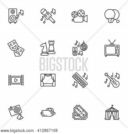 Entertainment Related Line Icons Set, Party Outline Vector Symbol Collection, Linear Style Pictogram