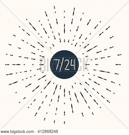 Grey Clock 24 Hours Icon Isolated On Beige Background. All Day Cyclic Icon. 24 Hours Service Symbol.