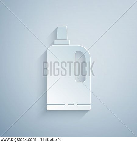 Paper Cut Fabric Softener Icon Isolated On Grey Background. Liquid Laundry Detergent, Conditioner, C