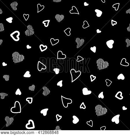 Seamless Vector Pattern White Hearts On Black Background. Chaotic
