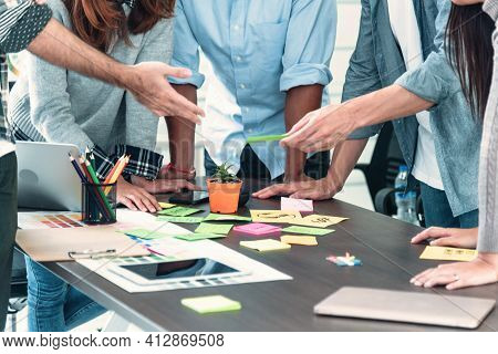 Diversity Multiethnic Team Group Of Business People Present Meeting Conference Room Brainstorming Bu