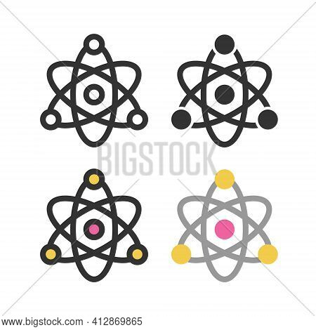 Atoms, Molecules, Dna, Chromosomes Outline Vector Icon Set