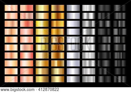 Gold Rose, Silver, Black And Gold Texture Gradation Background Set. Metallic Vector Gradients. Elega