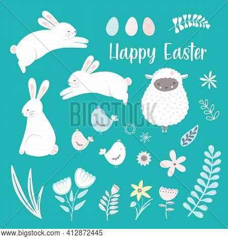 Easter Clip Art Icon Set. Seasonal Isolated Images Of Easter Time Decorative Elements, Cute Bunny, L