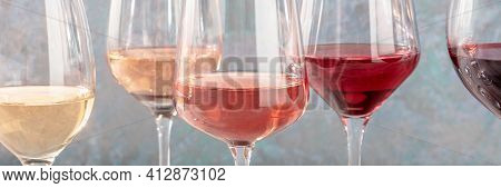 Wine Color Panorama. Many Different Glasses Of Wine
