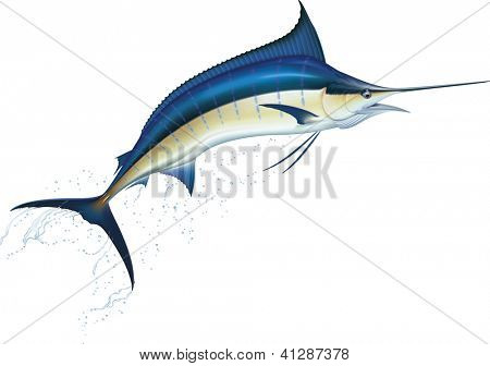 Jumping blue marlin. Raster. Check my portfolio for a vector version.