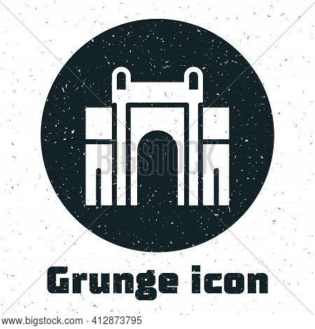 Grunge India Gate In New Delhi, India Icon Isolated On White Background. Gate Way Of India Mumbai. M