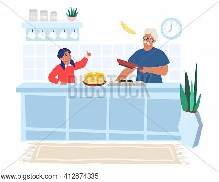 Happy Grandfather Cooking Pancakes With Granddaughter, Flat Vector Illustration. Grandparent Grandch
