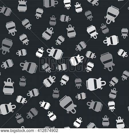 Grey Sangria Pitcher Icon Isolated Seamless Pattern On Black Background. Traditional Spanish Drink.