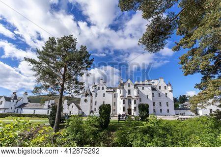 Perthshire, Scotland - May 24 , 2019 : White Elegant Blair Castle Locates Near The Village Of Blair