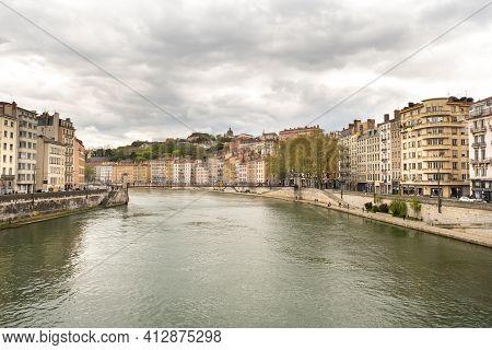 Lyon, France. April 7, 2019. Saone River In Lyon In Spring, France.