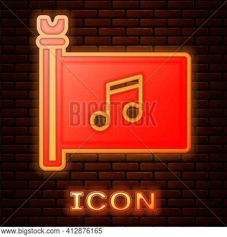 Glowing Neon Music Festival, Access, Flag, Music Note Icon Isolated On Brick Wall Background. Vector