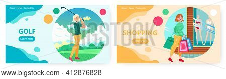 Golf And Shopping, Landing Page Design, Website Banner Vector Template Set. Wellbeing, Health, Happi