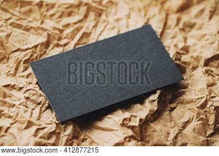 Black Business Card Flatlay On Brown Parchment Paper Background, Luxury Branding Flat Lay And Brand