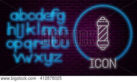 Glowing Neon Line Classic Barber Shop Pole Icon Isolated On Brick Wall Background. Barbershop Pole S