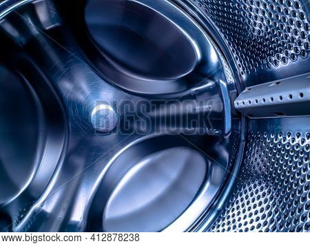 Metal Drum Of The Washing Machine Made Of Stainless Steel.