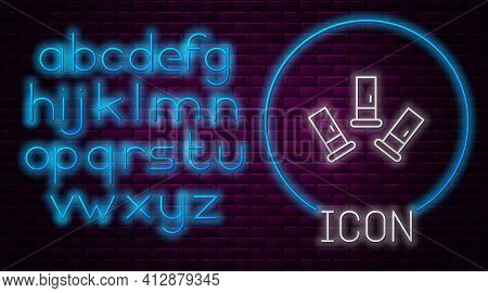 Glowing Neon Line Cartridges Icon Isolated On Brick Wall Background. Shotgun Hunting Firearms Cartri