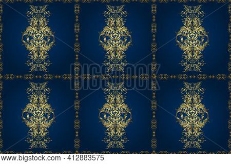 Raster Blue And Neutral Leafy Background With Hand Drawn Cute Leaves, Flowers, Swirls, Intricate Bea