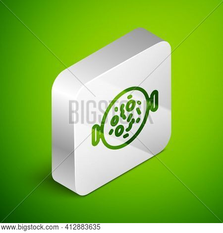 Isometric Line Chicken Tikka Masala Icon Isolated On Green Background. Indian Traditional Food. Silv