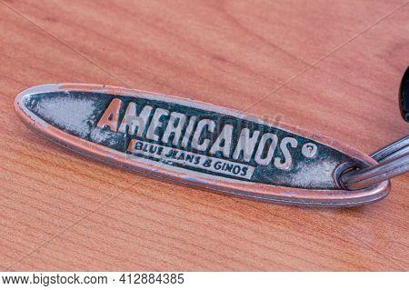 Pruszcz Gdanski, Poland - March 16, 2021: Americanos Blue Jeans And Ginos Key Ring.