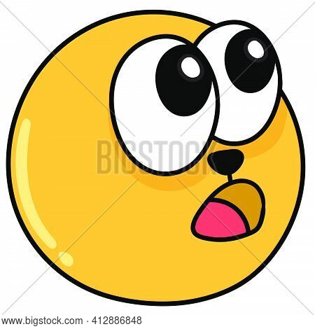 Emoji Ball With A Face Being Amazed In Awe, Doodle Kawaii. Doodle Icon Image. Cartoon Caharacter Cut