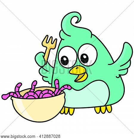 A Bird With A Happy Face Ready To Eat A Delicious Worm, Doodle Kawaii. Doodle Icon Image. Cartoon Ca