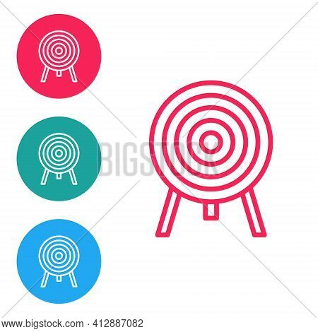 Red Line Target Icon Isolated On White Background. Dart Board Sign. Archery Board Icon. Dartboard Si