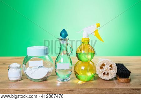 Eco Friendly Tools And For Diy House Cleaning. Spray Bottle Of Illuminating Color, White Vinegar In