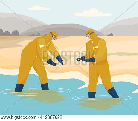 Nature Contaminated By Human Activity. Scientistscollect Samples Of Dirty Water On Coastline