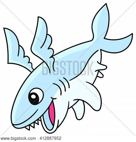 Fierce Winged Shark, Doodle Icon Image. Cartoon Caharacter Cute Doodle Draw
