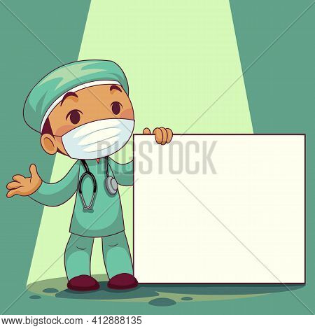 Doctor Wearing Medical Mask With Whiteboard Label Cartoon Character. Covid-19 Outbreak Medical Staff