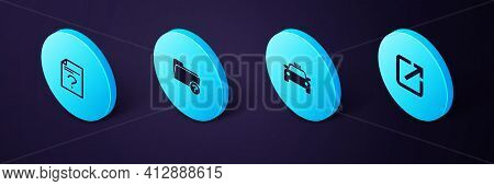 Set Isometric Open In New Window, Taxi Car, Unknown Directory And Document Icon. Vector