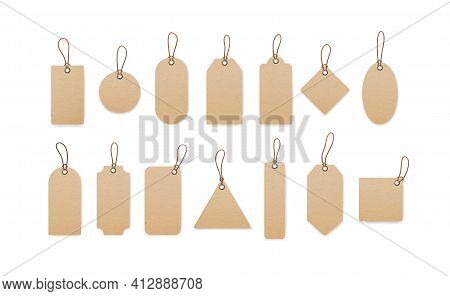 Realistic Craft Carton Paper Price Tags Of Different Shapes Isolated On White Background. Blank Card