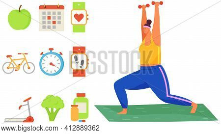 Overweight Person Uses Dumbbells To Lose Weight. Calorie Counter Symbols, Pedometer, Natural Food