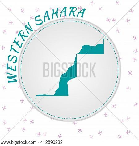 Western Sahara Map Design. Map Of The Country With Regions In Emerald-amethyst Color Palette. Rounde