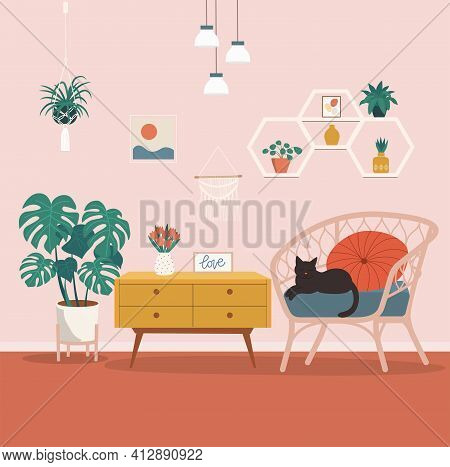 Comfortable Rattan Chair And House Plants. Vector Flat Style Illustration