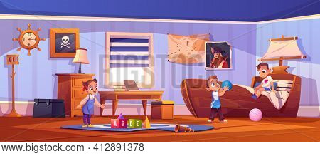 Kids In Bedroom In Pirate Thematic With Ship Bed