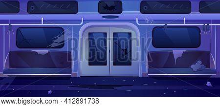 Old Subway Train Car, Broken Metro Wagon Interior