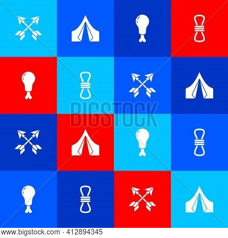 Set Crossed Arrows, Tourist Tent, Chicken Leg And Climber Rope Icon. Vector