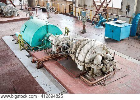 Chemical Enterprise Interior Element High Pressure Air Turbo Compressor Retro Design 1980s For Suppl