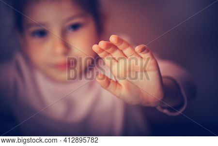 Woman Hand Sign For Stop Abusing Violence. International Human Rights Or Refugee Day Concept.