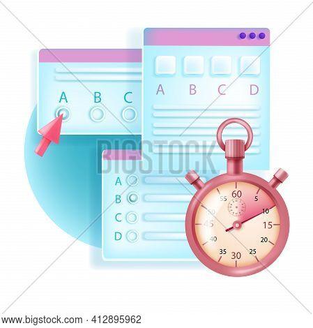 Online Exam, Web Test, Vector Internet Education Poll Concept, Timer, Arrow, Checklist, Box, Window.
