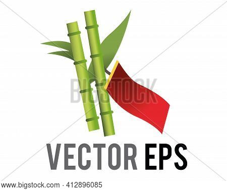 The Isolated Vector Tanabata Wish Bamboo Tree, Icon With People Hang Wishes Written On Paper