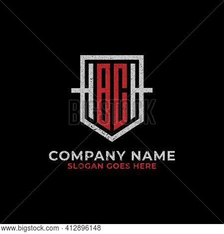 Monogram Bc Logo Design Shield, Initial Letter Bc, Cb Sign With Retro Vintage Rustic Style Template