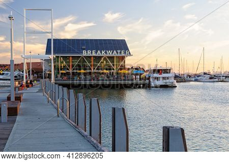 Perth, Wa, Australia - February 28, 2017: The Breakwater Over The Water At Hillarys Boat Harbour