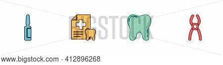 Set Painkiller Tablet, Dental Card, Tooth And Pliers Icon. Vector