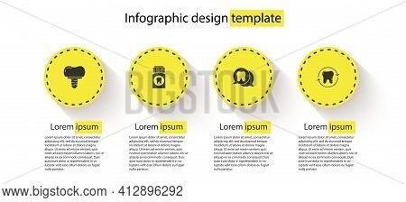 Set Dental Implant, Painkiller Tablet, Tooth And Whitening. Business Infographic Template. Vector