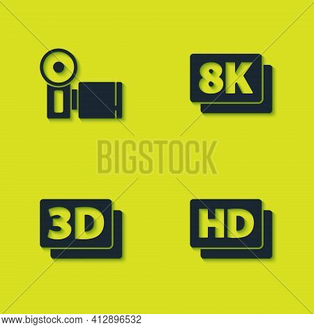 Set Cinema Camera, Hd Movie, Tape, Frame, 3d Word And 8k Ultra Hd Icon. Vector